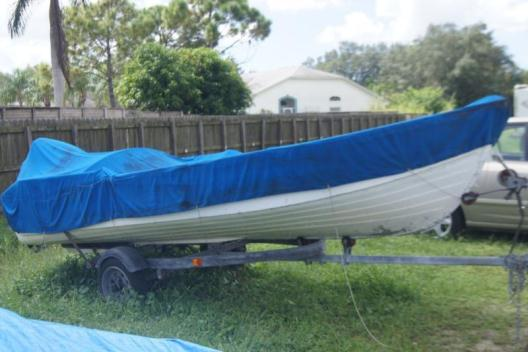 14 FOOT ALUM BOAT, MOTOR AND TRAILER