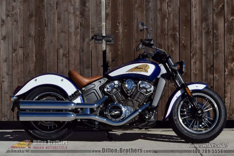 2017 Indian Scout ABS Brilliant Blue Over White and