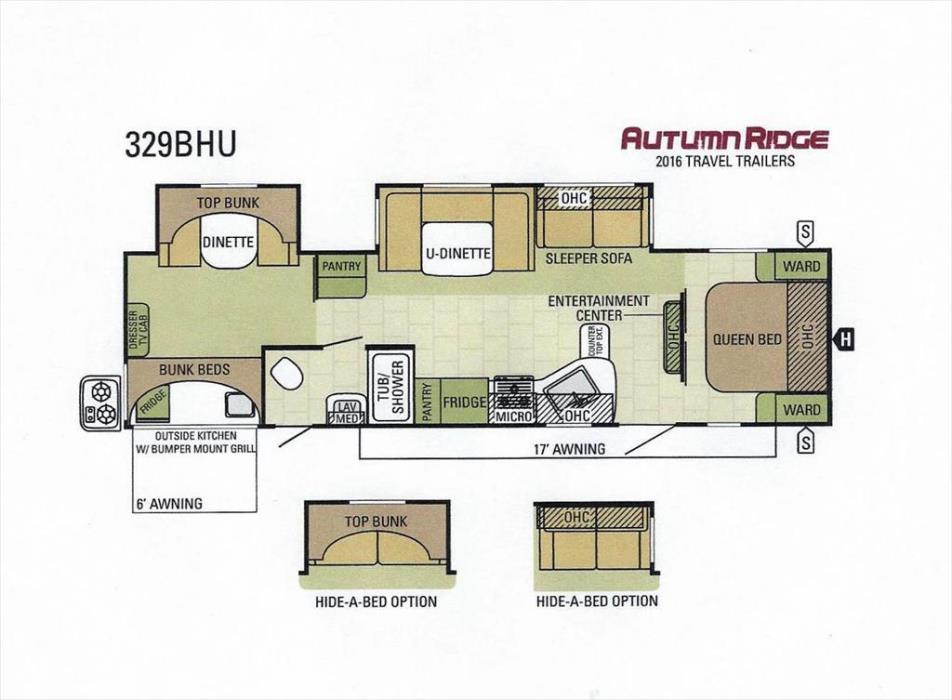 2016 Starcraft Autumn Ridge 329BHU Two Bedroom Double Slideout