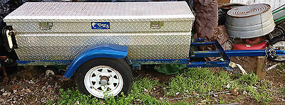 MOTORCYCLE CUSTOM DIAMOND PLATE CARGO PULL BEHIND TRAILER W 8 MAN TENT
