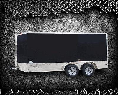 2015 New 7x14 Enclosed Cargo Trailer Toy Hauler Motorcycle ATV Box VNose 14' 16'