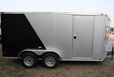 2015 New 7x16 Enclosed Cargo Trailer Toy Hauler Motorcycle VNose ATV Box Covered