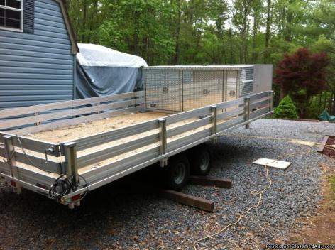 Aluminum flat bed cargo trailer w/tool box