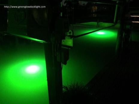 Green underwater fish lights, dock lights, seawall lights, lake lights