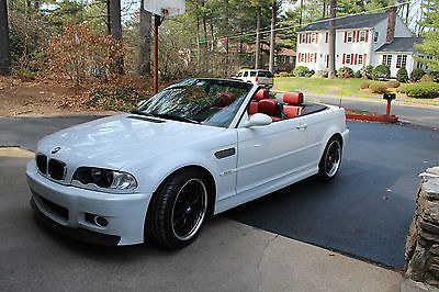 BMW : M3 Base Convertible 2-Door 2002 rare white ext red int bmw m 3 convertible 2 door 3.2 l with lots of addons