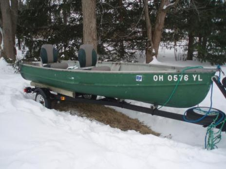 13 1/2 foot Fiberglass Boat & Trailer