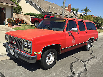 GMC : Suburban Seirra  1989 red gmc suburban sle 1500 amazing offer with a surprising strong engine