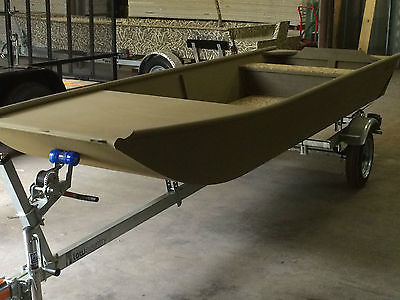 Low Country Backwater Series 1442 tan custom built flat bottom boat w/trailer