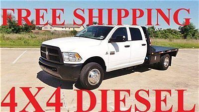 Dodge : Ram 3500 LEATHER 4X4 CREW DIESEL DUALLY FLATBED 38K FREE SHIPPING DUALLY DODGE  RAM DIESEL 4X4 AUTO FACTORY WARRANTY