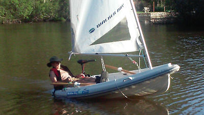 8' Walker Bay Sailboat - Inflatable Collar, Minn Kota Motor, Sails & Trailer
