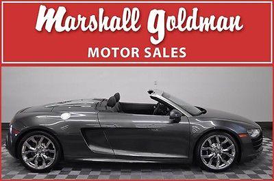 Audi : R8 Spyder Convertible 2-Door 2012 audi r 8 5.2 spider r tronic daytona grey pearl black leather nav 3300 miles