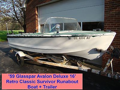 '59 Glasspar Avalon Deluxe 16' Retro Classic Survivor Runabout Boat + Trailer