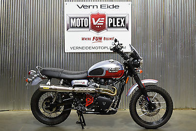 Triumph : Bonneville 2014 triumph bonneville scrambler red silver two tone 2 k mi finance trade