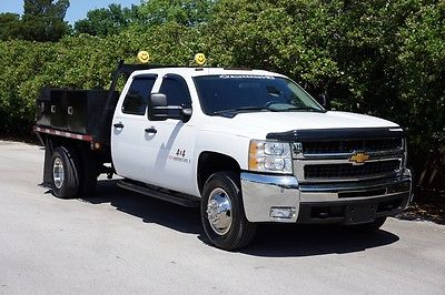 Chevrolet : Silverado 3500 Work Truck Crew Cab DRW 4WD, Flatbed, Tool Boxes 6.0 l vortec 4 x 4 one texas owner 8 ft flat bed w tool boxes work horse servic