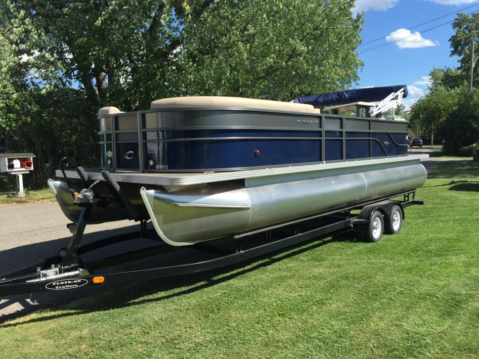 Crest pontoon boats boats for sale for Pontoon boat without motor for sale
