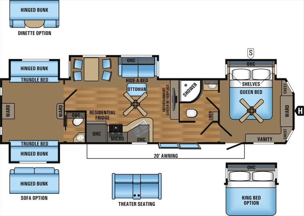 2017 Jayco Bungalow 40BHQS 2-Bedroom Quad Slideout