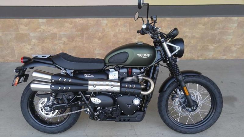 triumph street scrambler matte khaki green motorcycles for sale in california. Black Bedroom Furniture Sets. Home Design Ideas