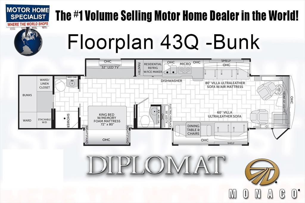 2018 Monaco Rv Diplomat SE 43Q Bunk Model, Bath & 1/2, IFS, UltraSteer