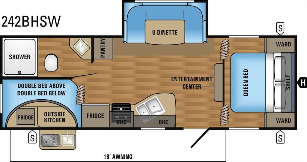 2017 Jayco Jay Flight SLX 242BHSW 2-Bedroom U-Dinette Slideout