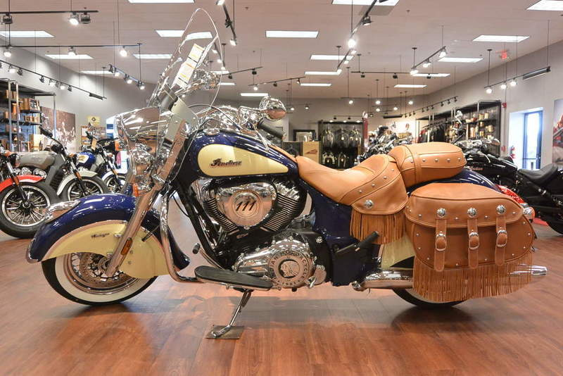 2017 Indian Motorcycle Chief Vintage Springfield Blue Over Ivory Cream