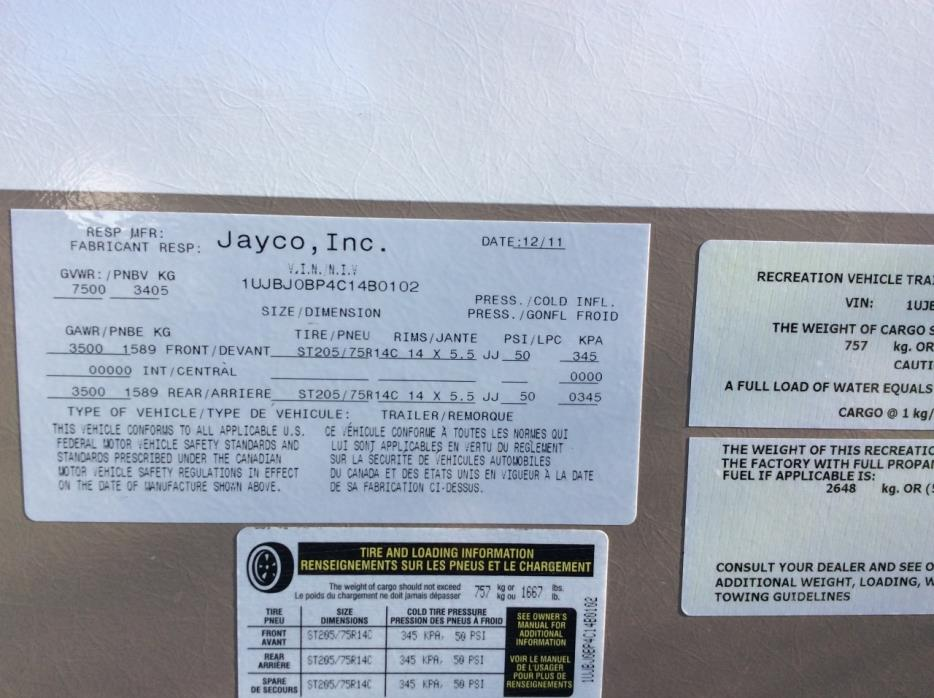 2012 Jayco WHITE HAWK 27DSRL, 2
