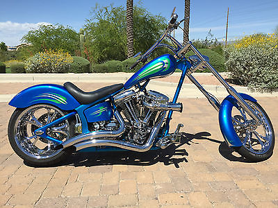 Custom Built Motorcycles : Chopper 2005 ray s custom cycle true blue chopper progressive air ride pm parts