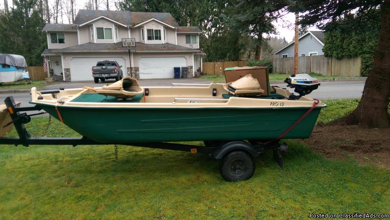12' boat, motor, and trailer