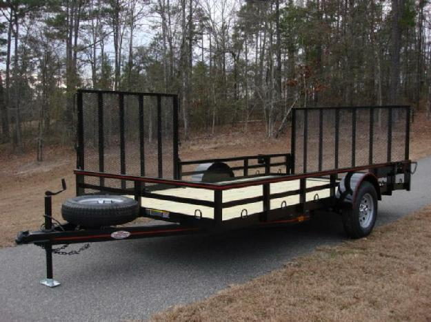 7ft X 14ft Deluxe Utility Trailer, Brake Axle, 5ft Side Ramp Gate and Rear Ramp