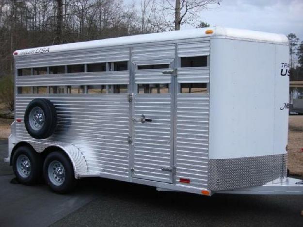 6ft 8in X 16ft All Aluminum Horse amp amp Livestock Combo Trailer, 7ft Tall, Mats