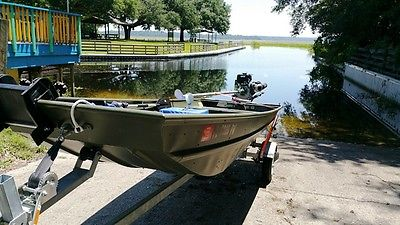 ALUMACRAFT 1436LT 13HP MUD SWAMP MOTOR MINN KOTA TROLLING JON BASS FISHING BOAT
