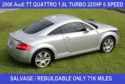 Audi : TT Quattro AWD Coupe Quattro VIDEO! 1.8L 225HP 6 Speed Manual Leather HID Wrecked Salvage Rebuildable