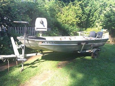 SeaArc 16' Jon Boat, aluminum trailer, 9.9 hp Tohatsu motor, lots of accesories