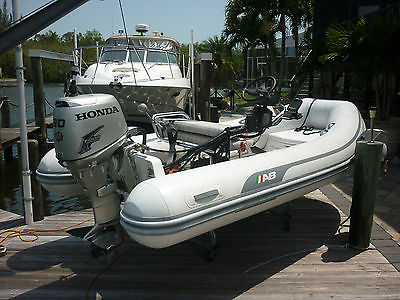 AB INFLATABLE BOAT DINGHY 12FT 30HP HONDA 2010 W/DAVIT AND DOCK CRADLE