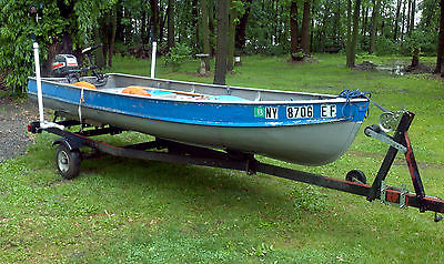 1967 Alumacraft Aluminum Row Boat w/ Trailer & 9.9 Mariner & Minn Kota 40 Motor
