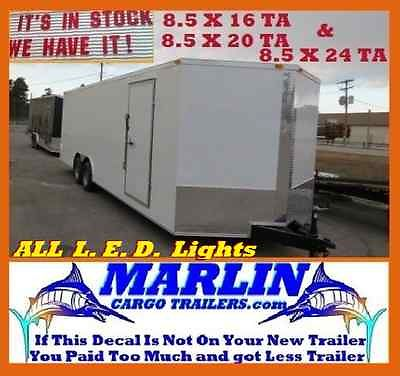 Car Haulers Enclosed Cargo 8.5X24TA VNose Trailers Blk or Wht LEDs DEXTER AXLES