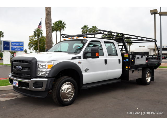 Ford : Other Pickups XL Flatbed F550 2WD Diesel Crew Cab Power Group Bluetooth 11' Contractor Flatbed Work Truck