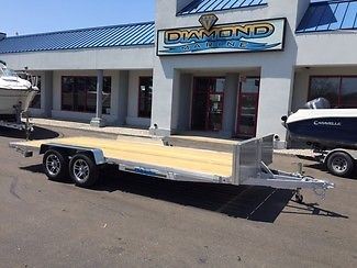 2015 WOLVERINE 7X18 ALUMINUM FLAT DECK CAR HAULER, UTILITY USE, ALLOYS, RAMPS