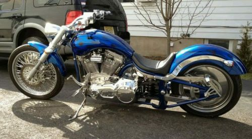 Custom Built Motorcycles : Chopper Custom Chopper Motorcycle pro street bobber blue lowered stretched