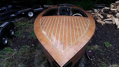1956 Belmont Vdrive Wooden runabout ( lk Chris craft vintage speed boat ) RARE