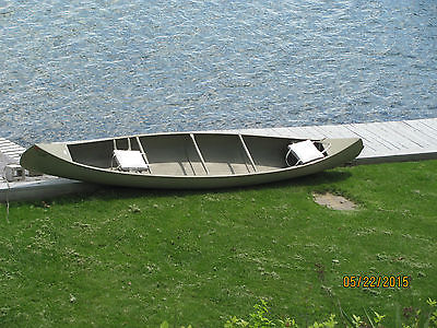 Grumman Aluminum 17 ft canoe - olive drab color - indestructible !!!