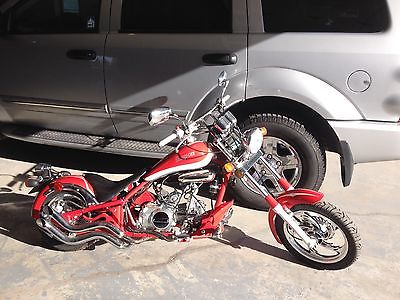Custom Built Motorcycles : Chopper 2009 snap on chopper red and white 22 miles street legal 125 cc limited