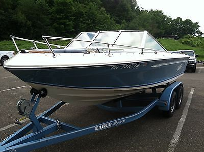 19ft Bowrider Boat (Blue and White) W/ Tandem Trailer