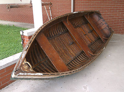 1930's-40's Vintage Thompson Brothers, 11 1/2' Wooden Fishing Boat & Oars, Nice!