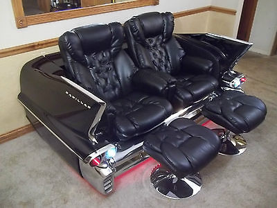 Cadillac : Other Couch / Sofa 1958 cadillac couch sofa with reclining leather seats for utimate man cave