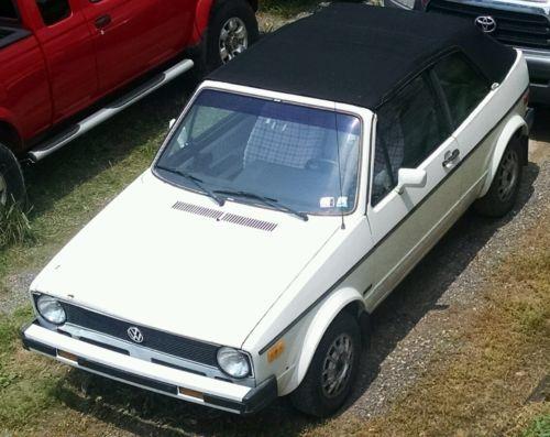 Volkswagen : Other 2 door convertible 1986 volkswagen cabriolet vw white black ragtop great cond convertable