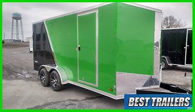 2015 look 7x16 Vision Arctic cat green enclosed motorcycle atv or utv trailer