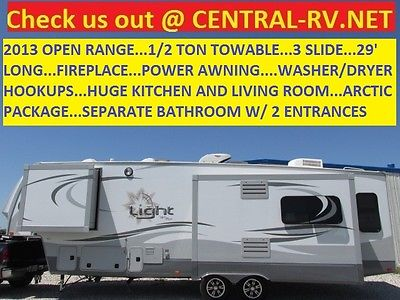 2013 OPEN RANGE 29' 1/2 TON TOW 3s FIREPLACE ARCTIC PKG MONTANA COUGAR RV 5TH