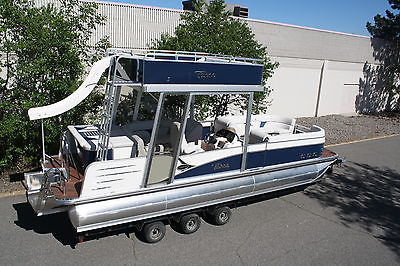 Special---New triple tube  27 ft pontoon boat with slide- hpp tubes