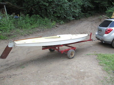 1972 Sunfish sailboat 14' good sail with trailer  new wheel tire hitch no mast