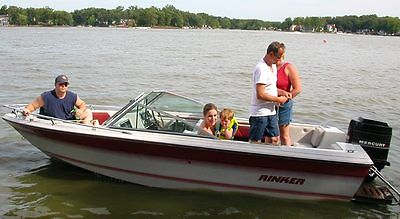 17' Fiberglass Ski Boat w/ Mercury 135HP Outboard and Trailer